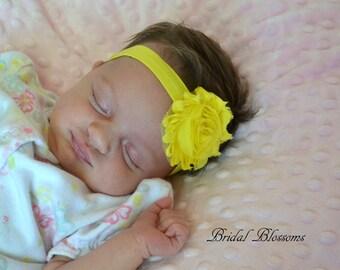 Yellow Baby Headband | Shabby Chiffon Frayed Flower Headband | Shabby Chic Newborn Headband | Photo Prop | Little Girl Hair Bow