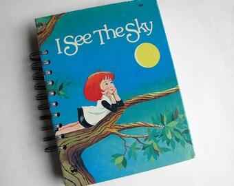 junk journal, smash book - vintage hardcover altered book journal - I See The Sky