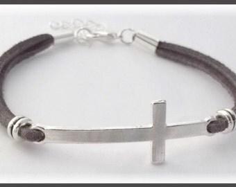 Silver cross Womens bracelet, Christian cross bracelet, Christmas gift, silver sideways cross charm jewelry, girls faith bracelet