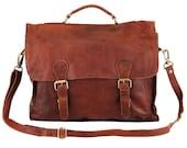 Leather Satchel  Messenger Bag  Briefcase School Bag  Work Bag in Vintage Brown by MAHI Leather