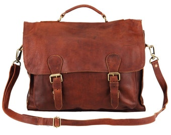 Leather Satchel – Messenger Bag – Briefcase –School Bag – Work Bag in Vintage Brown by MAHI Leather