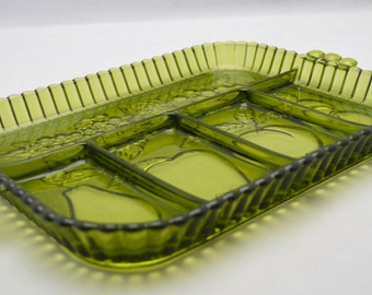 Vintage Green Glass Divided Dish, Indiana Glass Fruit and Vegetable Platter, Condiment Tray