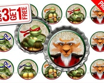 Teenage Ninja Turtle Bottle Cap Images - 1 inch size - Suitable for Hair Bows, Magnets, Scrapbooking, Stickers etc - High Resolution Images