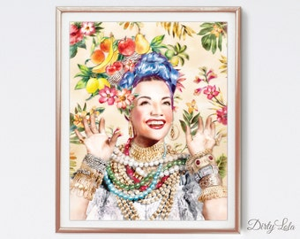 Carmen Miranda - Portrait - Illustration - Art Print - Kitchen - Home Decor