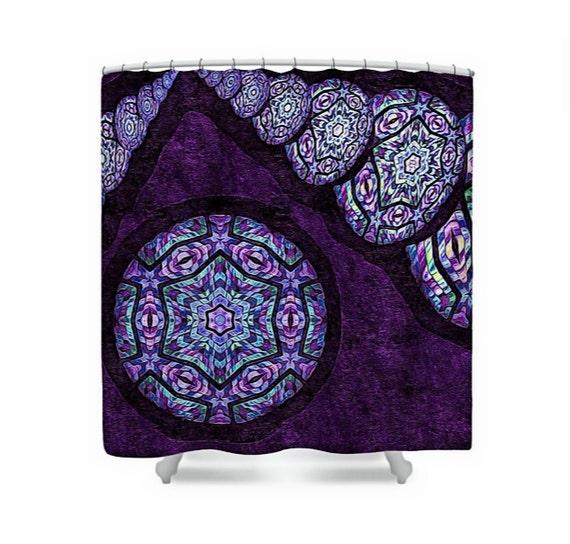 Mandala Fabric Shower Curtain Dark Plum Purple Amp Aqua Blue