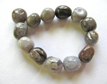 Agate nuggets, rounded free form nuggets, 13 beads, 10mm - #143