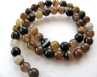 Striped Agate beads, 19 beads, brown, tan and white, 10mm - #132