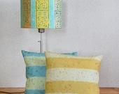 "Linen Drum Lamp Shade in Aqua (Light Blue, Turquoise, Teal) ""Rosette"" - Artisan Design Lampshade Made in Maine"