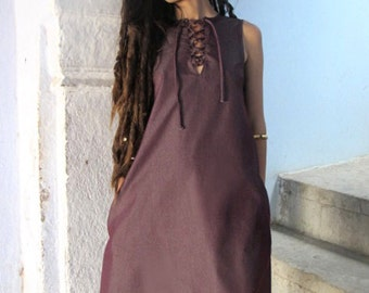 Boho Dress,Mini Dress, Dress With Pockets,Party Dress, Holiday Dress,Cotton Dress ,Bordeaux Dress Urbanic Tribe