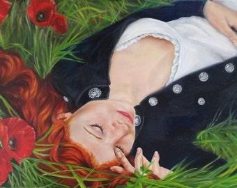 Poppy.  Art print from an original oil painting