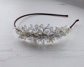 Simple and elegant bridal side tiara