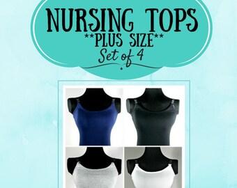 PLUS SIZE Breastfeeding Top, Set of 4, Nursing Tank Top, Nursing Camisole, Breastfeeding and Nursing Camisole, Strapless Nursing Tank Top