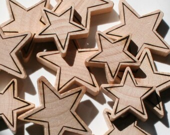 "Wood Burned Stars 3/4"", 1"""