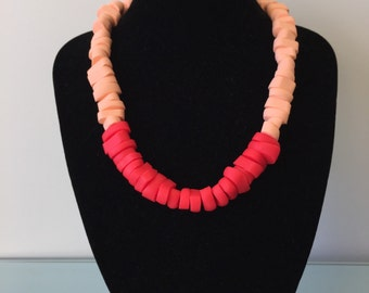 Red peach edgy necklace. Chunky necklace. Polymer clay, short length. Big and bold necklace. Simple modern design