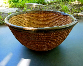 "Nigerian Basket/Bowl Kitchen Decor 6"" Tall 11"" Wide Leather Trim"