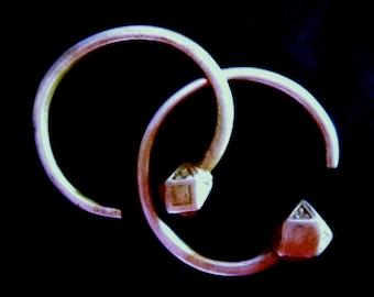 Tuareg Large Silver Tsabit Hoop Earrings Mali Africa Traditional Ethnic Jewelry