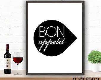 Kitchen Wall Decor Bon Appetit Bon Appetit Art Printable Wall Art Restaurant Decor Cafe Decor Bon Appetit Decor Bon Appetit Poster