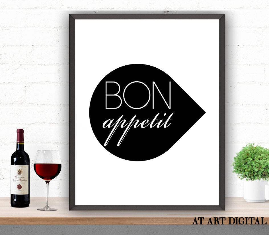 Kitchen Wall Decor Bon Appetit Bon Appetit Art Printable Wall