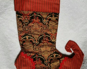 Christmas stocking,Red and gold Christmas tree brocade with stripes
