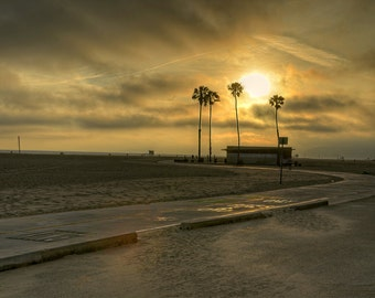 Santa Monica Pier, Los Angeles, California, Palm Tree, Shack, Sunset, Ocean, Beach Front, Path, Clouds, Sand