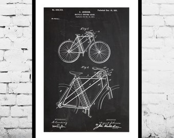 Bicycle Patent, Bicycle Poster, Bicycle Print, Bicycle Art, Bicycle Decor, Bicycle Blueprint, Bicycle Wall Art