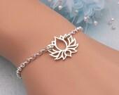 Sterling Silver Lotus Bracelet Yoga Bracelet Lotus Jewelry Buddhist Bracelet Lotus Flower Jewelry Sturdy Bracelet