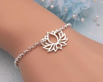 Sterling Silver Lotus Bracelet, Yoga Bracelet, Lotus Jewelry, Buddhist Bracelet, Lotus Flower Jewelry, Sturdy Bracelet