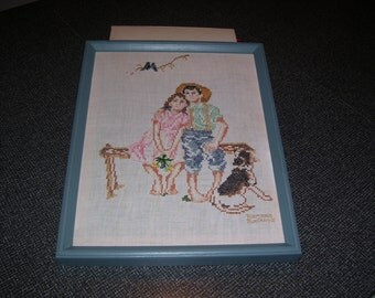 Norman Rockwell Cross Stitch Childhood Memories Framed Vintage