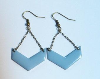 Boucles d'oreilles chevrons bleu pastel