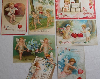 Vintage Valentine's Day Postcards lot of 7 Cherubs/Cupid