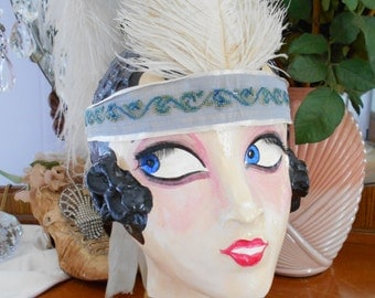 Awesome Silk ribbon 1920's/Flapper/Great Gatsby Headband with Feather