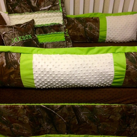 Custom baby bedding real tree camo and lime green 5 pc crib set with