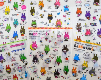 SIX pages Korean Rabbit Girl stickers - kawaii candy ice cream - bunny bunnies - cute schoolgirl - dieting - flower - sweets & treat planner