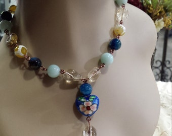 semi precious stone one strand necklace