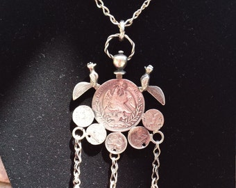 Sterling silver coin pendant necklace