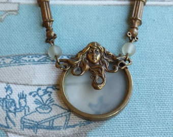 Victorian long chain pendant necklace