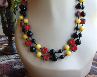 Two strand beaded necklace.