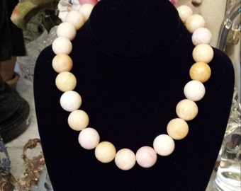 One strand large beaded light yellow sandstone necklace