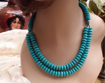 Two strand beaded turquoise necklace