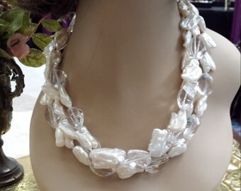 three strand fresh water pearl and faceted crystal necklace