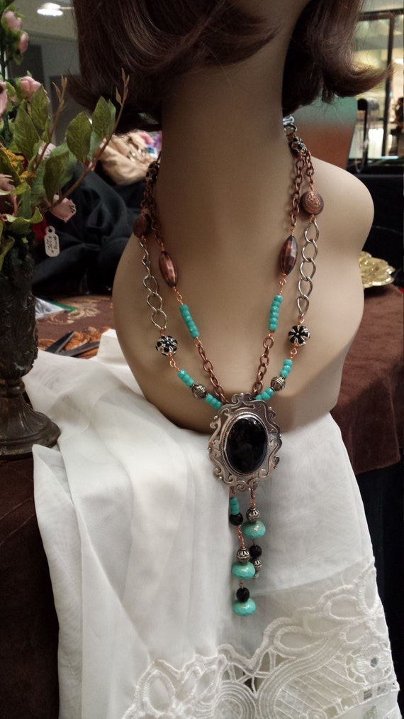 two strand bolo necklace with sterling silver black onyx pendant