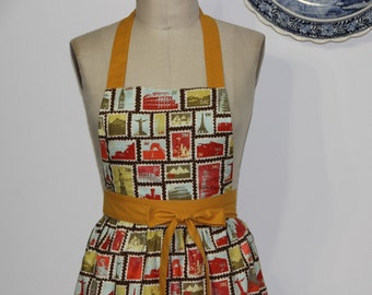 Stamp patchwork square neckline Apron. Stylish and modern apron for women .Autumn Apron.