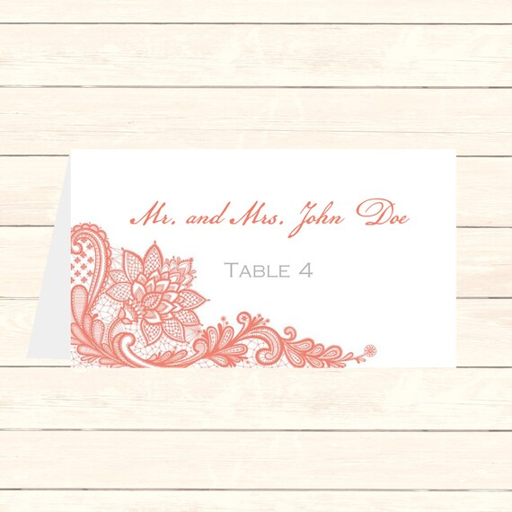 Wedding Place Card DIY Template Lace In Melon Editable