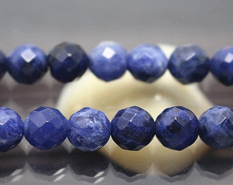 8 mm Blue Sodalite Gemstone 64 Faceted Round Beads, 15'' one strand