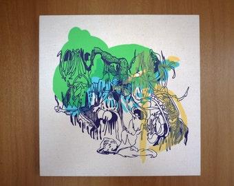 Screen Printed Fabric Wall Art Panel Original Illustration