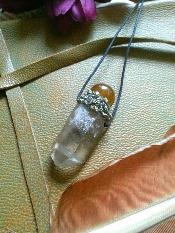Smokey quartz and amber crystal on crushed pyrite necklace