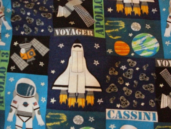 Outer space and rockets flannel fabric for boys spaceships and for Space flannel fabric