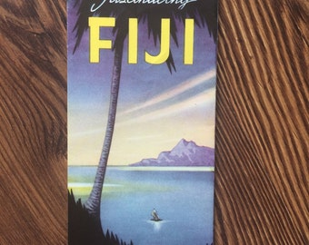 "Vintage ""Fascinating Fiji"" South Pacific Travel Brochure Poster"
