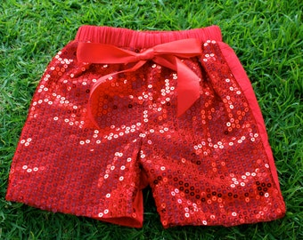 Red Sequin Shorts
