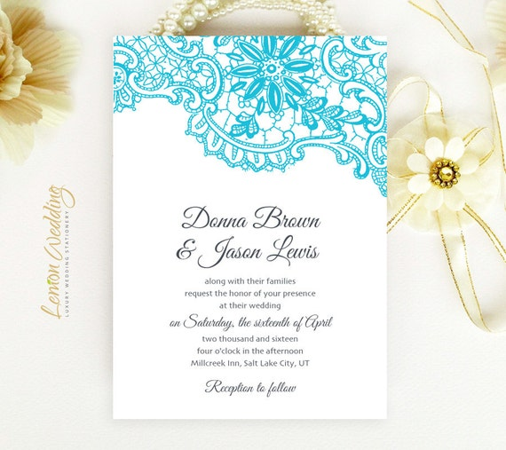 Elegant Inexpensive Wedding Invitations: Cheap Wedding Invitations Elegant Blue Lace By LemonWedding